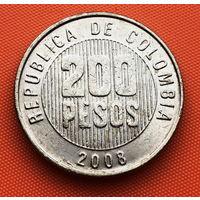 124-16 Колумбия, 200 песо 2008 г. Единственное предложение монеты данного года на АУ