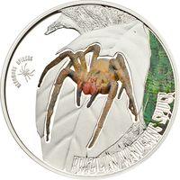 """Острова Кука 1 доллар 2013г. """"Бразильский бродячий паук"""". Монета в капсуле; подарочном футляре; номерной сертификат; коробка. СЕРЕБРО 15,5гр."""