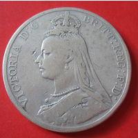 Англия, Крона Виктории, 1890 г., серебро