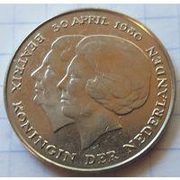 Нидерланды 1 гульден, 1980 Коронация королевы Беатри    ( К-2-3 )