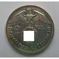 1939 г. 2 марки. A. Германия. Рейх. Серебро. XF. #5