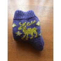 Детские новые беларуские светящиеся фиолетовые с фиолетовым отливом шерстяные вязаные с красивым цветным детским рождественским оленьим рисунком носки для детей от 5 до 7 лет