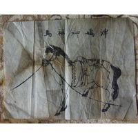 Гравюра, японский оберёг, амулет OFUDA, 19 век