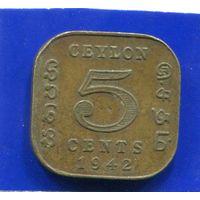 Цейлон , Шри Ланка , 5 центов 1942 , Georg VI