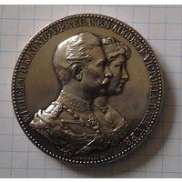 Юбилей золотой свадьбы Вильгельм II и Августа Виктория, серебро 0.900, d-45мм, вес 50,43г