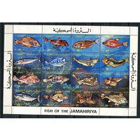 Ливия (Джамахирия) - 1983 - Рыбки - сцепка - [Mi. 1138-1153] - полная серия - 16 марок. MNH.