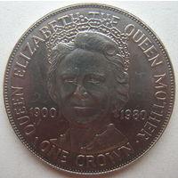 Остров Мэн 1 крона 1980 г. 80 лет со дня рождения Королевы Матери