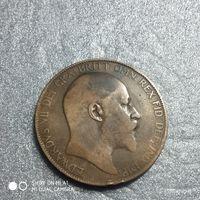 G Великобритания 1 пенни 1907 г. Едуард Едвард 7-й