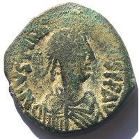ВИЗАНТИЯ. ЮСТИНИАН I ВЕЛИКИЙ (527-565 г.) КОНСТАНТИНОПОЛЬ. АЕ ФОЛЛИС.