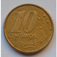 Бразилия 10 сентаво, 2001 г.