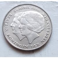 Нидерланды 1 гульдена, 1980 Коронация королевы Беатрикс 4-12-9