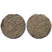 Шеляг 1618, Сигизмунд III Ваза, Вильно. Интересный брак чеканки в вальцах - виден оттиск другой монеты