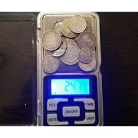 Лот монет серебра 24гр. Редкие монеты + лом серебра. РИ