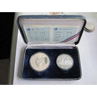 Южная Корея 2 монеты, посвященные Олимпийским играм в Сеуле-1988 - серебро, пруф, сертификаты + оригинальная коробка!