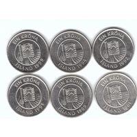 Исландия 1 крона 1981-99 без повторов по годам набор 6 монет