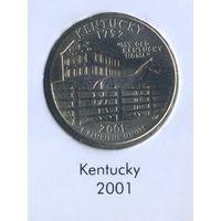 25 центов США 2001 г. штат Кентукки D