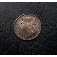 Стрейтс Сетлментс 20 центов 1882Н (СЕРЕБРО), 2