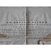 Царская Россия.Грамота царя НИКОЛАЯ I. Патент на чин Губернскаго Секретаря 1850 года.