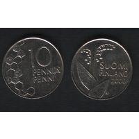 Финляндия km65 10 пенни 2000 год (M) (f33)(b04)n*