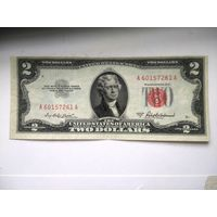 США 2 $ красная печать 1953 A