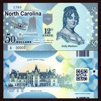 США - 50 Dollars - 12 штат North Carolina - 2014 - Polymer - UNC
