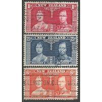 Новая Зеландия. Король Георг VI и королева Елизавета. 1937г. Mi#232-34. Серия.