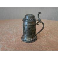 Бокал с крышкой для шнапса олово клеймо Германия середина ХХ века.
