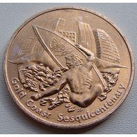 """Австралия. жетон-монета 1 доллар 1992 год """"150 лет Золотому Побережью"""" Спорт - Серфинг"""" Редкая!!!"""