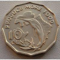 """Сейшельские острова. 10 центов 1977 год  KM#32  """"Ф.А.О. - Производить больше еды"""""""