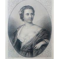LA DUCHESSE DE CHATEAUROUX    РЕДКАЯ . Старинная гравюра ПАРИЖ 1860 год. оригинал 27 х18 см.