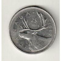 Канада 25 цент 1982