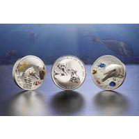 """Палау 10 долларов 2017г. """"Морская жизнь. Дельфин. Морской конёк"""". Монеты в капсулах; подарочной рамке - сертификате; коробка. СЕРЕБРО 2х62,27гр.(4 oz)."""