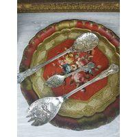 Посеребренные ложка вилка для салата  Металл, серебрение. Grenadie, Великобритания, вторая половина 20 века