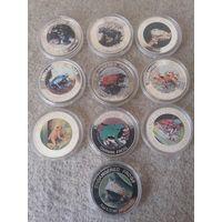 Комплект из десяти монет номиналом 10 квач. Малави, 2010 год. Серия: исчезающие лягушки.