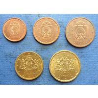Латвия 1, 2, 5, 10, 20 евроцентов 2014