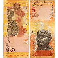 Венесуэла  5  боливаров  образца 2007 года  UNC
