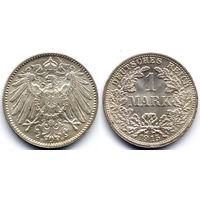 1 марка 1915 F, Германия, Штутгарт. Красивое коллекционное состояние