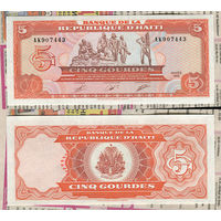 Распродажа коллекции. Гаити. 5 гурдов 1989 года (P-255a - 1989-1999 Issue)