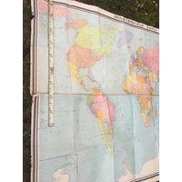 Огромных размеров ,1974 года и ещё  на холщёвом полотне ,политическая карта  мира  из  СССР!