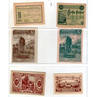 Австрия нотгельды 6 штук (3)10 геллеров.