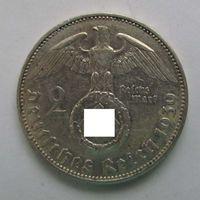 1939 г. 2 марки. J. Германия. Рейх. Серебро. XF