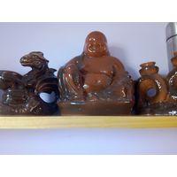 Фигурка Будды и 3 подсвечника, керамика