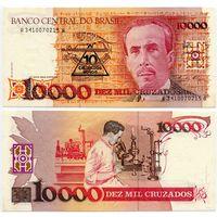 Бразилия. 10 новых крузадо на 10.000 крузадо (образца 1988 года, с надпечаткой 1989 года, P218a, UNС)
