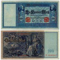 Германия. 100 марок (образца 1910 года, P42, оранжевая печать)