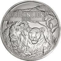 "Бурунди 5000 франков 2015 серебро (1 oz) ""Африканский лев"" (сертификат)"
