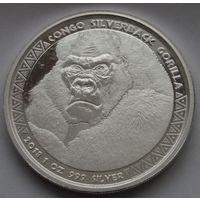 "Конго 2018 серебро (1 oz) ""Горилла"" (в капсуле)"
