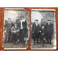 2 фото, франты, мода, стиль, Западная Беларусь до 1939, формат открытки