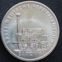 """YS: ГДР, 5 марок 1988, 150 лет дальним железным дорогам Германии, локомотив """"Саксония"""", KM# 120"""
