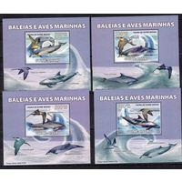 Гвинея-Бисау. 2008г. Фауна. Дельфины.Люкс-блоки 4шт.