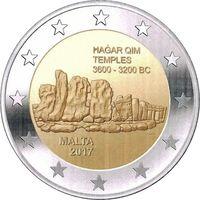 2 евро 2017 Мальта Храмы Хаджар-Ким  UNC из ролла